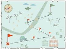 Ilustração do mapa do inverno para encontrar o tesouro Fotografia de Stock Royalty Free