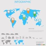 Ilustração do mapa do mundo com pinos coloridos e transporte Fotografia de Stock