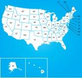 Ilustração do mapa dos EUA com nome do cada estados Imagem de Stock Royalty Free