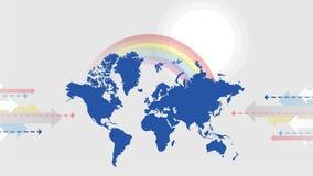 Ilustração do mapa do planeta no cinza do arco-íris e do sol ilustração stock