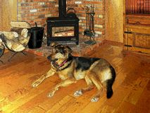 Ilustração do melhor amigo do homem por um fogo acolhedor em uma chaminé de madeira rústica do fogão ilustração do vetor