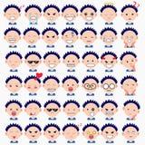 A ilustração do menino bonito enfrenta mostrar emoções diferentes A alegria, tristeza, raiva, falar, engraçada, teme, sorri Ilust ilustração royalty free