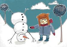 Ilustração do menino e do boneco de neve. Eps 10 ilustração stock