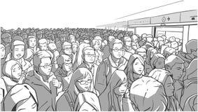 Ilustração do metro aglomerado, estação de metro Carro de embarque dos povos nas horas de ponta ilustração royalty free