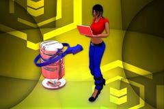 ilustração do microfone das mulheres 3d Fotos de Stock Royalty Free