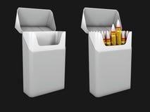 A ilustração do modelo cinzento do bloco do cigarro, matanças de fumo, isolou o preto Imagem de Stock