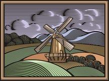 Ilustração do moinho de vento do vetor no estilo do bloco xilográfico Cultivo orgânico imagens de stock royalty free