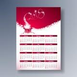 Ilustração 2018 do molde do calendário do vetor com a caixa de presente efervescente do número e da mágica no fundo vermelho Come Ilustração Stock