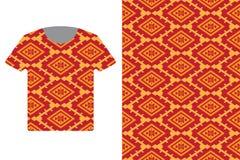 Ilustração do molde do projeto do t-shirt com o teste padrão étnico geométrico tradicional ilustração do vetor