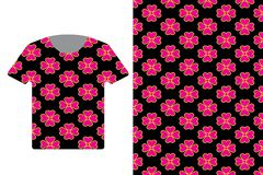 Ilustração do molde do projeto do t-shirt com o teste padrão étnico geométrico tradicional ilustração stock