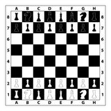 Ilustração do monochrome do tabuleiro de xadrez Foto de Stock Royalty Free