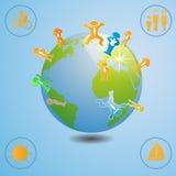 Ilustração do mundo com ícones dos povos Fotografia de Stock Royalty Free