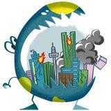 A ilustração do mundo da imaginação das crianças: Cidade na boca do monstro ilustração do vetor