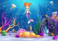 Ilustração do mundo subaquático com um peixe engraçado e uma sereia Imagens de Stock Royalty Free