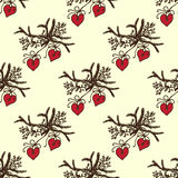 Ilustração do Natal Árvores de Natal do ramo com brinquedos Convite do ano novo Teste padrão sem emenda Imagem de Stock Royalty Free