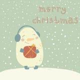Ilustração do Natal com boneco de neve bonito. Desenhos animados  Foto de Stock Royalty Free