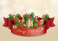 Ilustração do Natal com caixas de presente. Foto de Stock Royalty Free