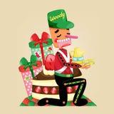 Ilustração do Natal com caráter de madeira do brinquedo Ilustração do vetor Fotografia de Stock Royalty Free