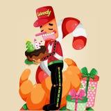 Ilustração do Natal com caráter de madeira do brinquedo Ilustração do vetor Fotos de Stock Royalty Free