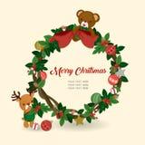 Ilustração do Natal com elementos bonitos no fundo branco Fotografia de Stock Royalty Free