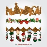 Ilustração do Natal com elementos bonitos no fundo branco Ilustração do vetor Imagens de Stock Royalty Free