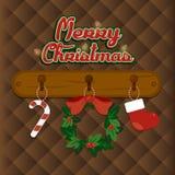 Ilustração do Natal com elementos bonitos no fundo marrom Ilustração do vetor Imagem de Stock Royalty Free