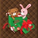 Ilustração do Natal com elementos bonitos no fundo marrom Ilustração do vetor Fotografia de Stock Royalty Free