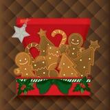 Ilustração do Natal com elementos bonitos no fundo marrom Ilustração do vetor Foto de Stock Royalty Free