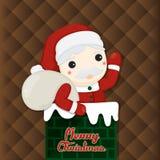 Ilustração do Natal com elementos bonitos no fundo marrom Ilustração do vetor Foto de Stock