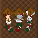 Ilustração do Natal com elementos bonitos no fundo marrom Ilustração do vetor Fotos de Stock