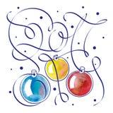 Ilustração do Natal com a mão que rotula 2017 ilustração do vetor