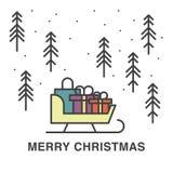 Ilustração do Natal com o trenó completo dos presentes Imagem de Stock