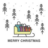 Ilustração do Natal com o trenó completo dos presentes Imagens de Stock Royalty Free