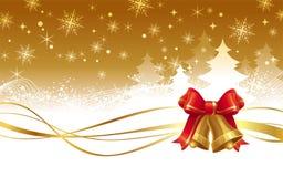 Ilustração do Natal com os sinos de mão dourados Fotos de Stock Royalty Free