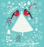 Ilustração do Natal com pássaros Fotografia de Stock