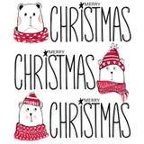 Ilustração do Natal com ursos engraçados Peluche tirada mão do vetor ilustração do vetor