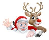 Ilustração do Natal de Santa e de rena Foto de Stock