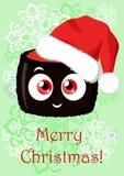 Ilustração do Natal do cumprimento com a imagem dos desenhos animados engraçada Fotos de Stock Royalty Free