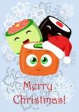 Ilustração do Natal do cumprimento com o sushi Imagem de Stock