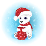 Ilustração do Natal O urso polar em um tampão de Santa Claus e em um lenço abre o saco com presentes Imagem de Stock