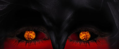 Ilustração do olho mágico com esfera de incêndio. ilustração do vetor