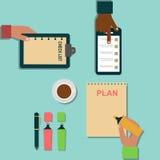 Ilustração do organizador do planejador do lembrete do trabalho do plano da nota do negócio da agenda do caderno do vetor Foto de Stock Royalty Free