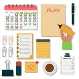 Ilustração do organizador do planejador do lembrete do trabalho do plano da nota do negócio da agenda do caderno do vetor Imagens de Stock Royalty Free