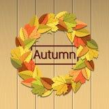 A ilustração do outono com folhas envolve-se no fundo de madeira brilhante Imagens de Stock Royalty Free