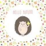 Ilustração do outono do ouriço do vetor Imagem de Stock