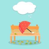 Ilustração do outono Guarda-chuva no banco Fundo do outono ilustração stock