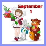 Ilustração do outono o 1º de setembro em um quadro azul, estudante, ilustração royalty free