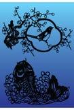 Ilustração do pássaro e dos peixes ilustração do vetor