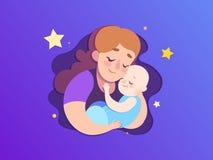 Ilustração do papel do dia de mães A mamã mantém um filho de sono imagem de stock royalty free