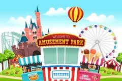 Ilustração do parque de diversões Foto de Stock Royalty Free